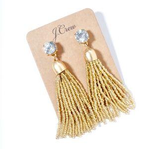 Jcrew golden beads tussle statement earrings
